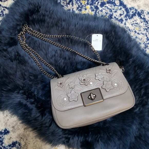 clear-cut texture shop for official shoes for cheap Coach Cassidy Crossbody Bag Floral Tooling Grey NWT